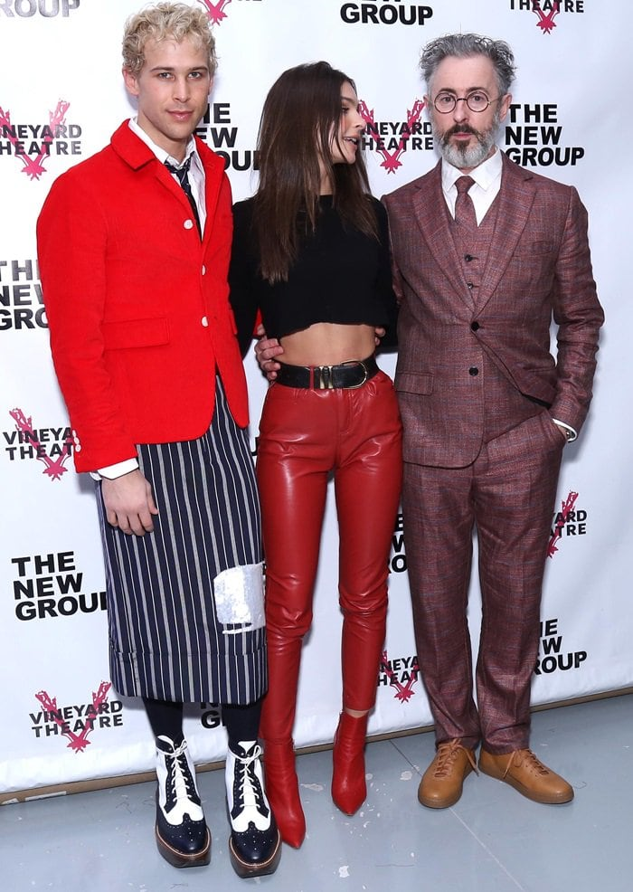 Emily Ratajkowski posed in-between Tommy Dorfman and Alan Cumming while attending the opening night party of their off-Broadway play Daddy