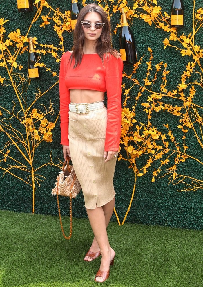 Emily Ratajkowski paraded her hot legs in a skirt and crop top from Maryam Nassir