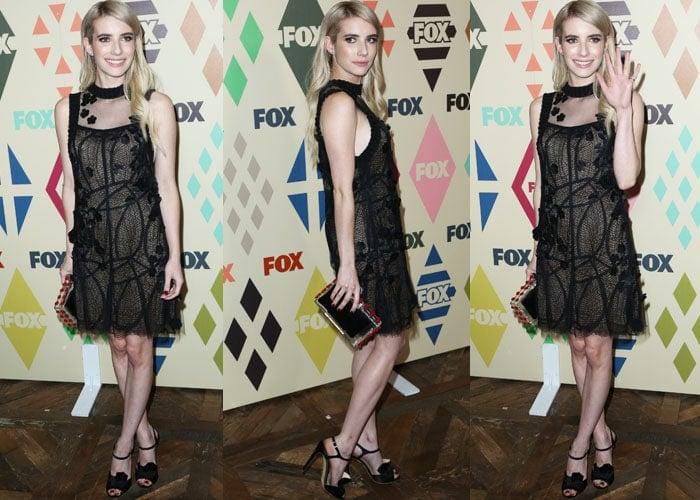 Emma Roberts flaunts the black Vera Wang dress she chose to wear to the Soho House event
