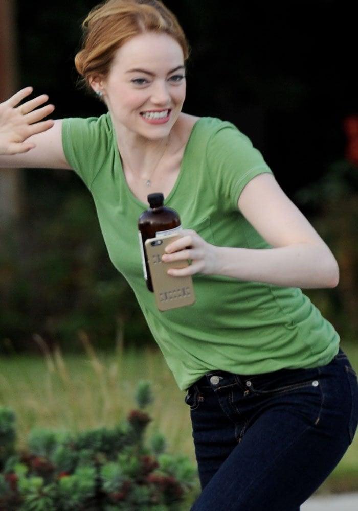 Emma Stone having fun on the set of La La Land
