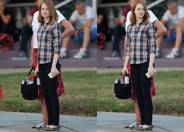 Emma Stone wears TOMS with a plaid shirt