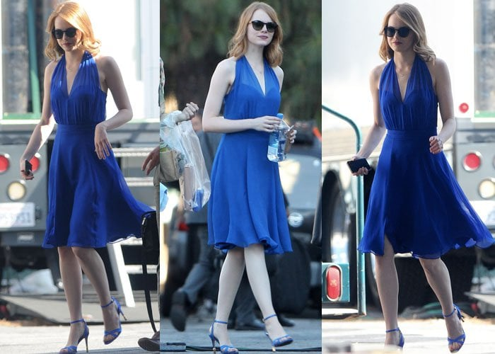 Emma Stone paired her blue dress with the gold-embellished Chelsea satin pumps from Kurt Geiger