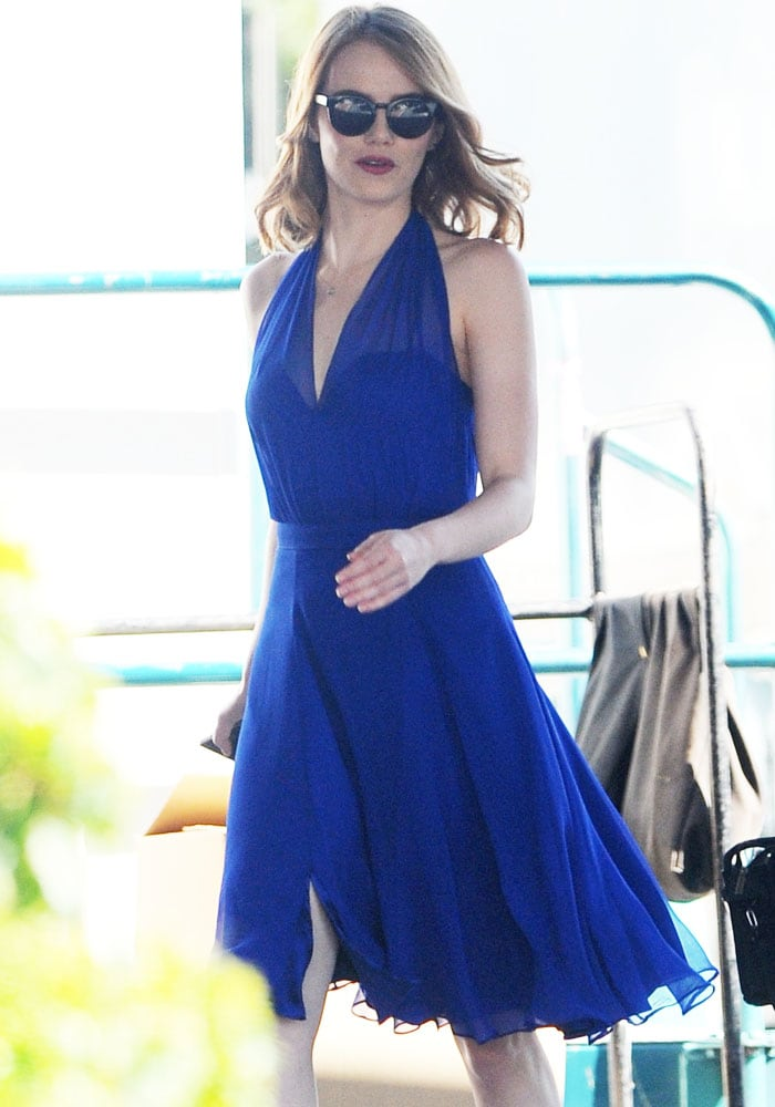 Emma Stone spotted on the set of her new movie 'La La Land' filming in Los Angeles on August 12, 2015