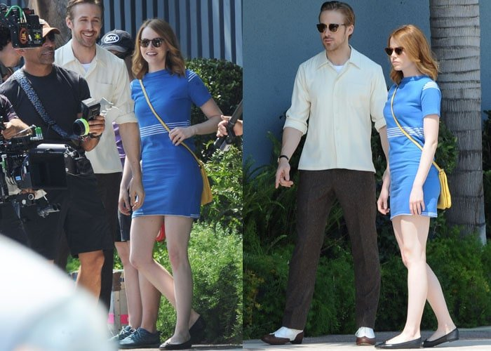 Emma Stone and co-star Ryan Gosling goofing around for a scene in their new movie 'La La Land' in Burbank, California on August 19, 2015