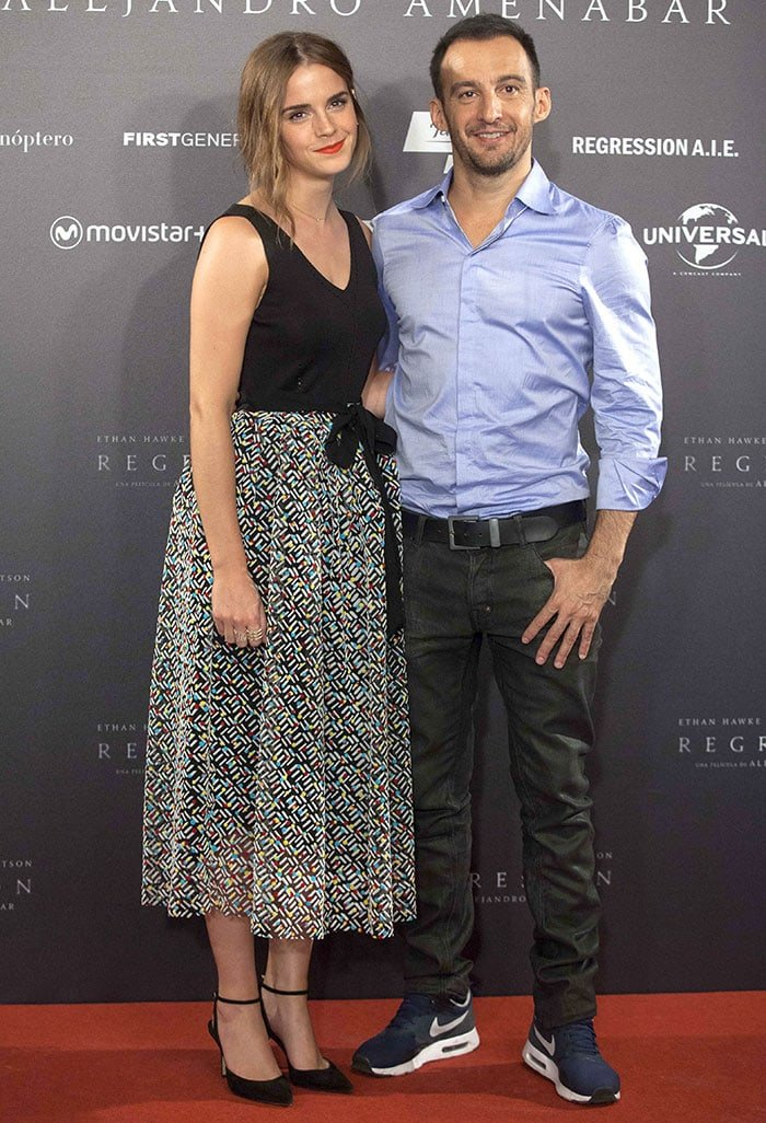 "Emma Watson and Alejandro Amenábar at the photocall for ""Regression"""
