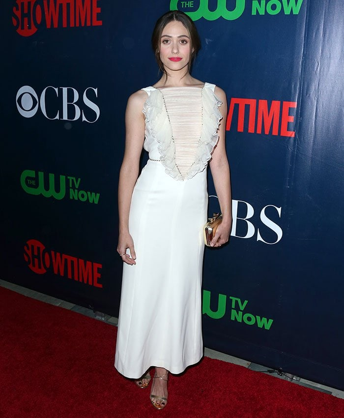 Emmy Rossum donned an ethereal Alessandra Rich dress