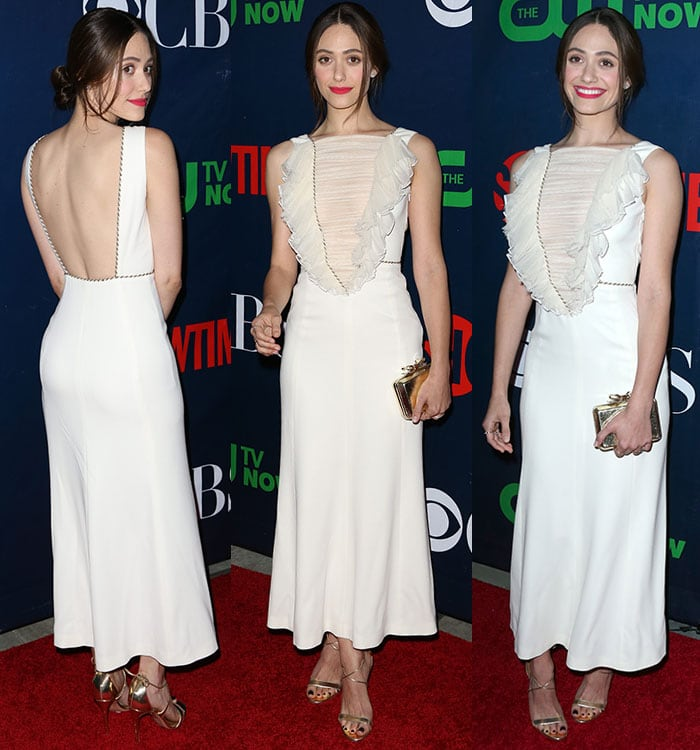 Emmy-Rossum-Alessandra-Rich-Ruched-Panel-Backless-Dress