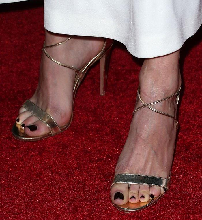 Emmy Rossum displayed her sexy toes in Aquazzura sandals