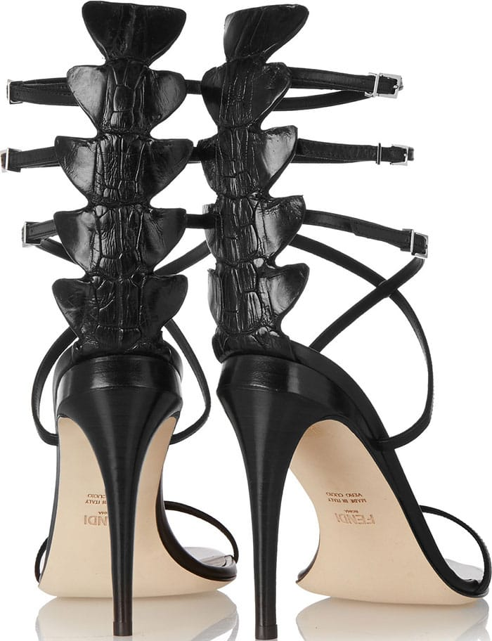 Fendi Ava Leather & Crocodile Strappy Sandals