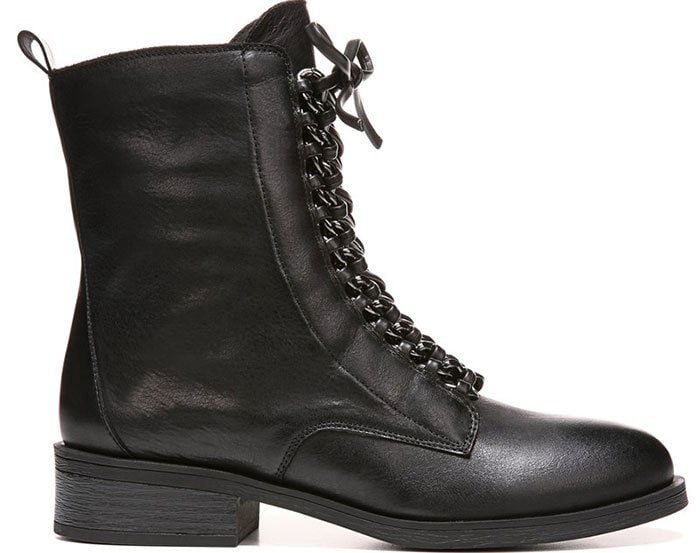 Fergie Nemo Lace-Up Chain-Detail Military Boots