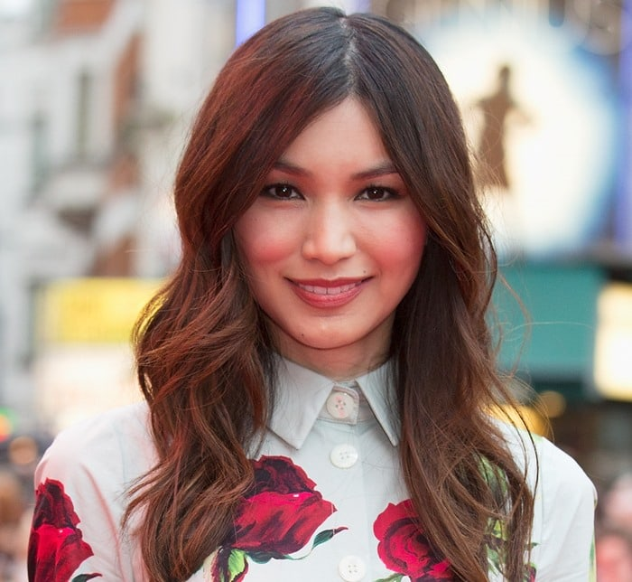 Gemma Chan's romantic floral-printed cotton dress from Dolce & Gabbana