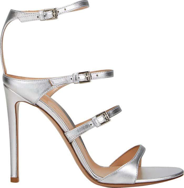 Gianvito Rossi Carey Triple-Strap Sandals Silver
