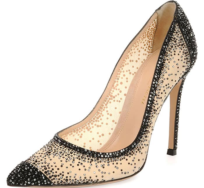 Gianvito Rossi Crystal Mesh Point-Toe Pumps