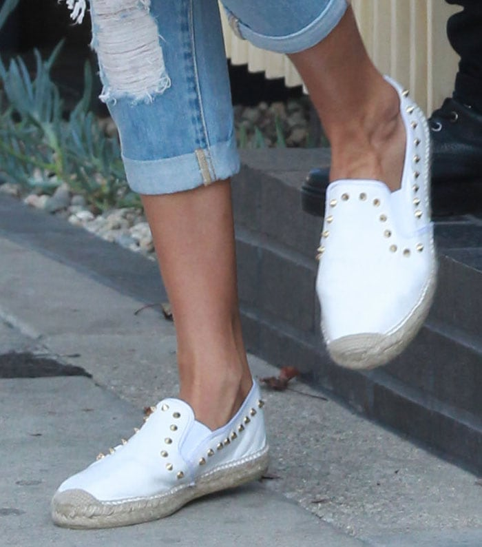 """Gigi Hadid steps out in her leather """"Zest"""" espadrilles, previously spotted on Hilary Duff"""