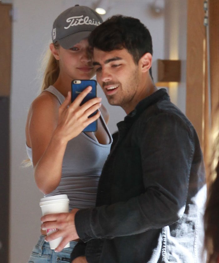 Joe Jonas and Gigi Hadid grab coffee and spend a day shopping in Beverly Hills on August 20, 2015