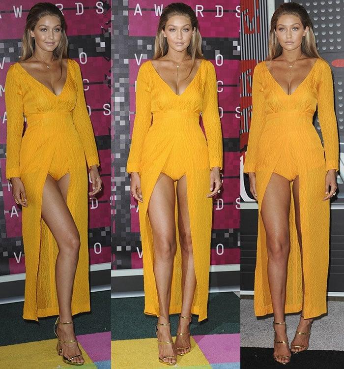 Gigi-Hadid-legs-cleavage-Emilia-Wickstead-yellow-dress-VMA