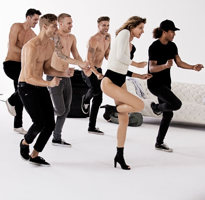 Gisele Bundchen shows off her dance moves with her crew in tow as she films a commercial for footwear brand Stuart Weitzman