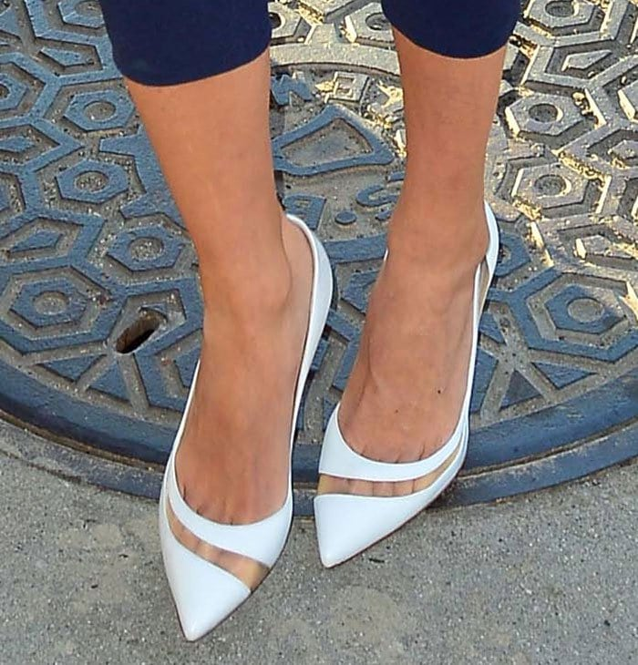 Giuliana Rancic wearing chic white pumps by Gianvito Rossi pumps