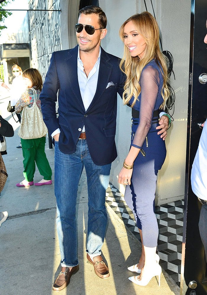 Giuliana Rancic and husband Bill at Craig's in Los Angeles for a dinner date on August 4, 2015