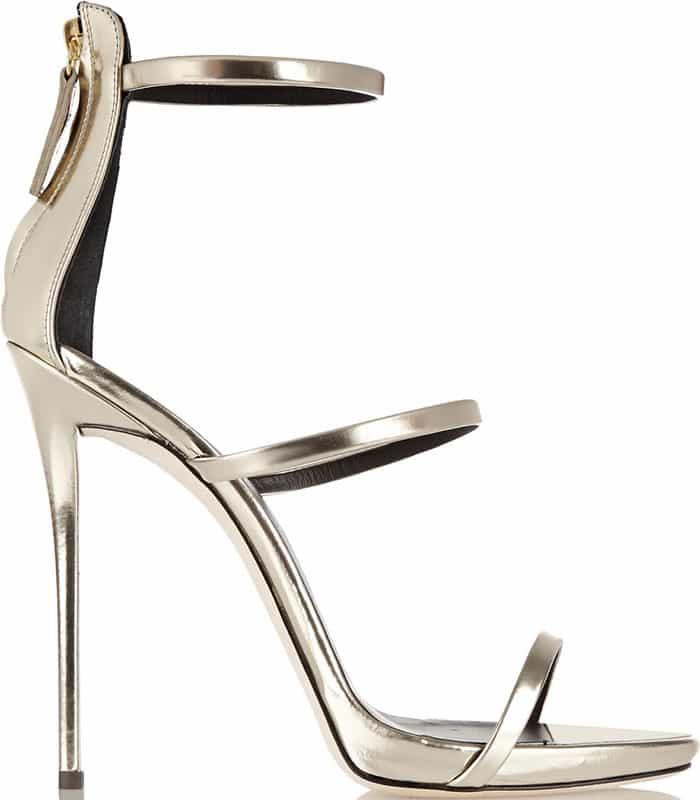 Giuseppe Zanotti Coline Triple-Strap Metallic Sandals