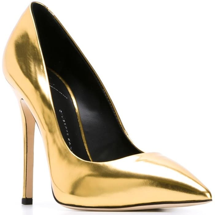 Giuseppe Zanotti Metallic-Gold-Leather Pointy-Toe Pumps