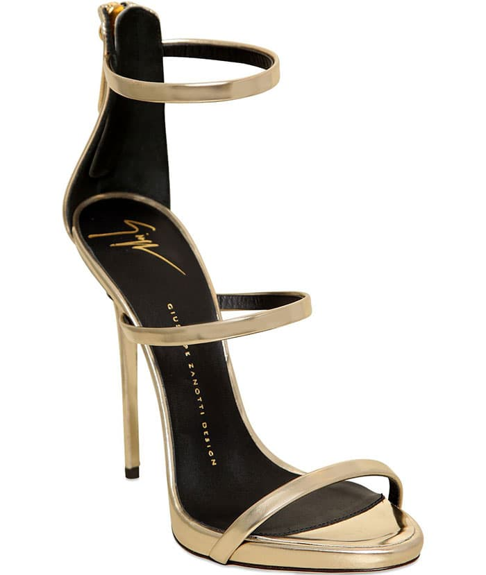 Coline Triple-Strap Metallic Sandals Gold