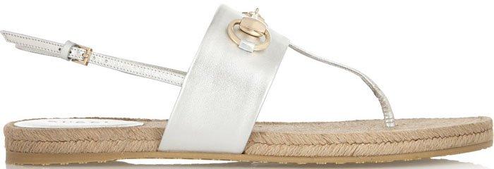 GucciHorsebit-detailed Metallic Leather Espadrille Sandals