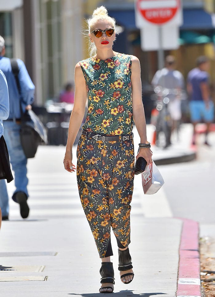 Gwen Stefani steps out in a pair of floral-printed, harem-style pants and a coordinating sleeveless top