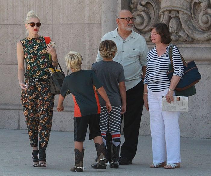 Gwen Stefani heads to church in patterned drop-crotch ensemble