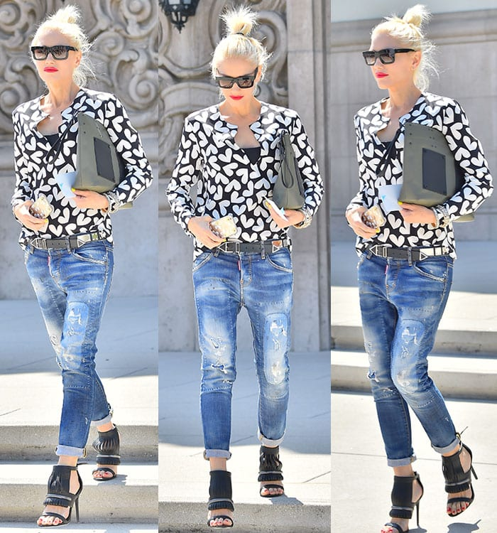 Gwen keeps things casual for her outing, showing off slouchy jeans and a platinum topknot
