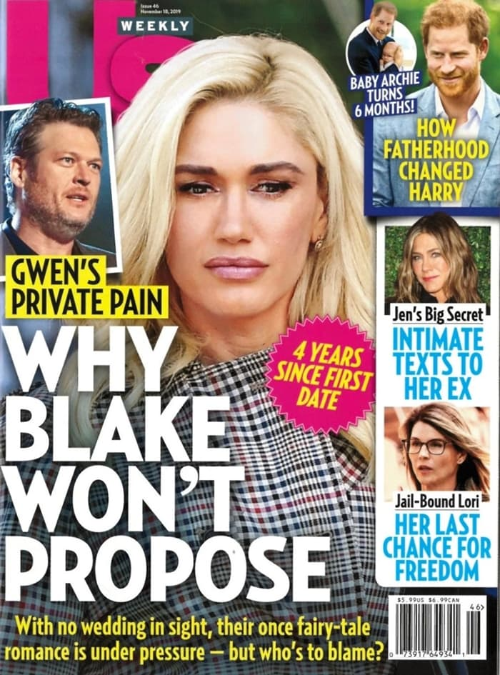 Us Weekly ran the following headline on the cover of their print publication: Why Blake Won't Propose