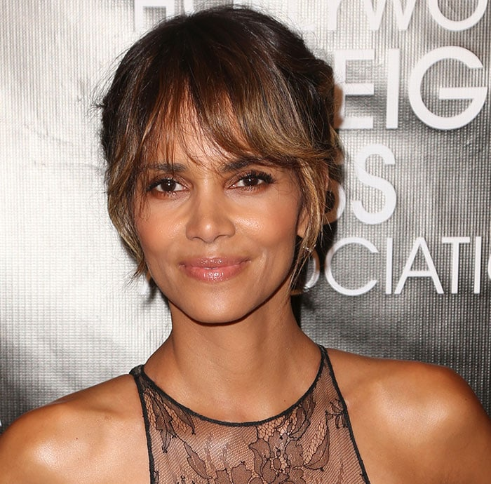 Halle Berry with a chic braided updo and natural-looking makeup
