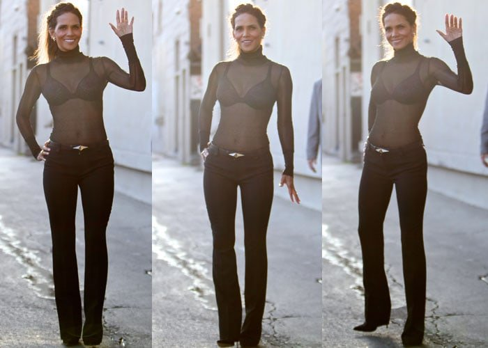 Halle Berry styled a sheer turtleneck top with black pants