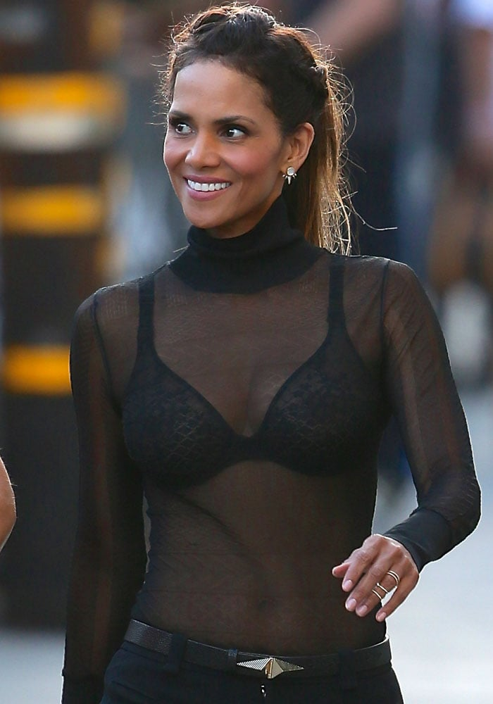 Halle Berry's see-through top and black bra