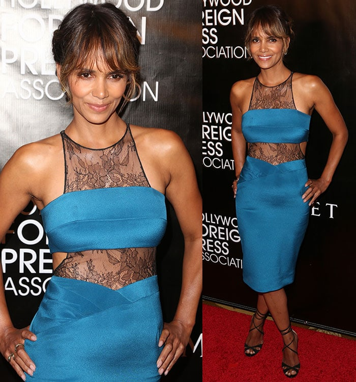 Halle Berry wearing a bandeau top and a high-waisted pencil skirt