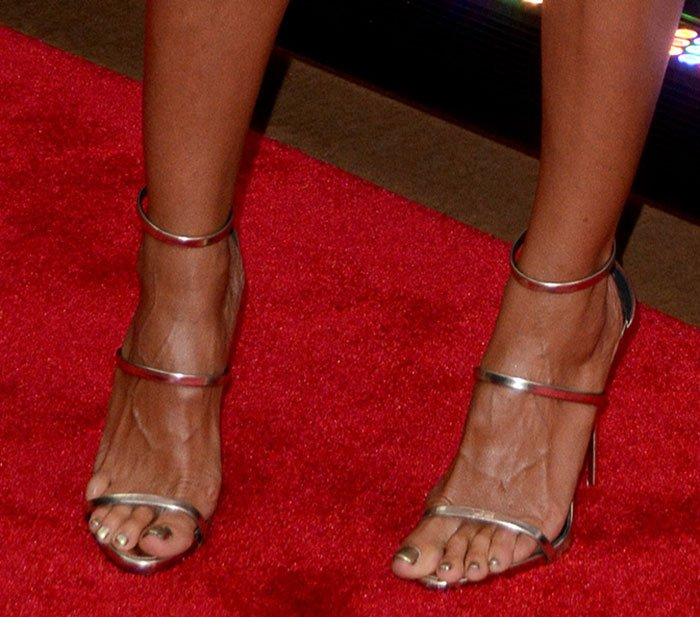 Heidi Klum displayed her sexy toes in Giuseppe Zanotti shoes