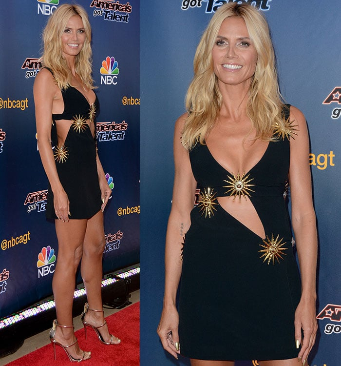 Heidi Klum with bronzed makeup to match her sun-kissed skin