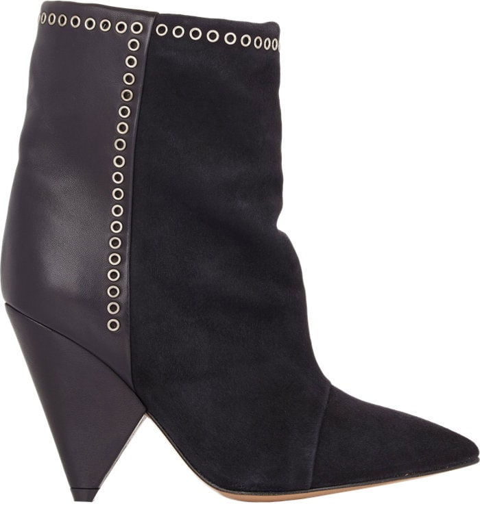 """Isabel Marant Suede & Leather """"Lance"""" Ankle Boots Black"""