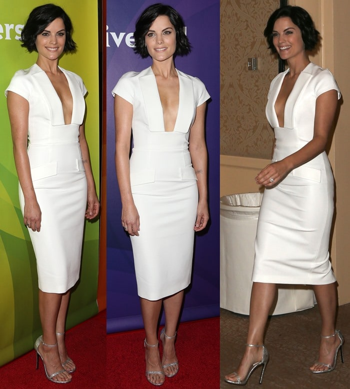Jaimie Alexander flaunted her long legs and sexy feet in a white Cushnie et Ochs dress and strappy silver sandals