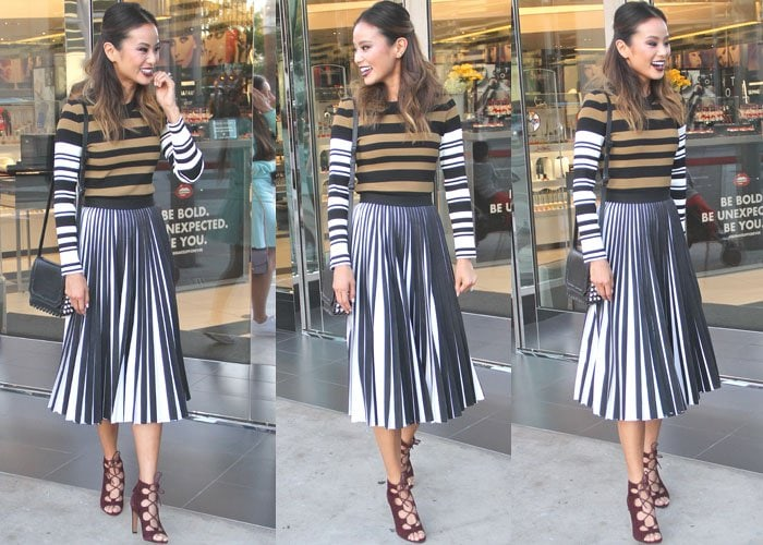 Jamie Chung is all smiles and stripes as she attends a Make Up For Ever event