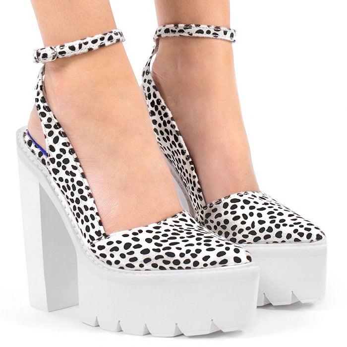 "Jeffrey Campbell ""Celeb-F"" Chunky White Platform Heels"