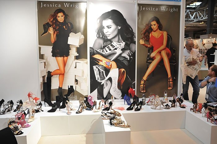 Jessica Wright showcasing her eponymous shoe collection at Moda 2015 fashion trade exhibition