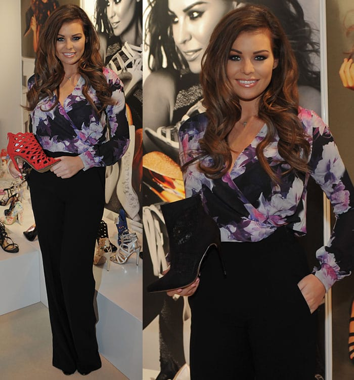 Jessica Wright in a floral chiffon top and high-waisted trousers at MODA 2015