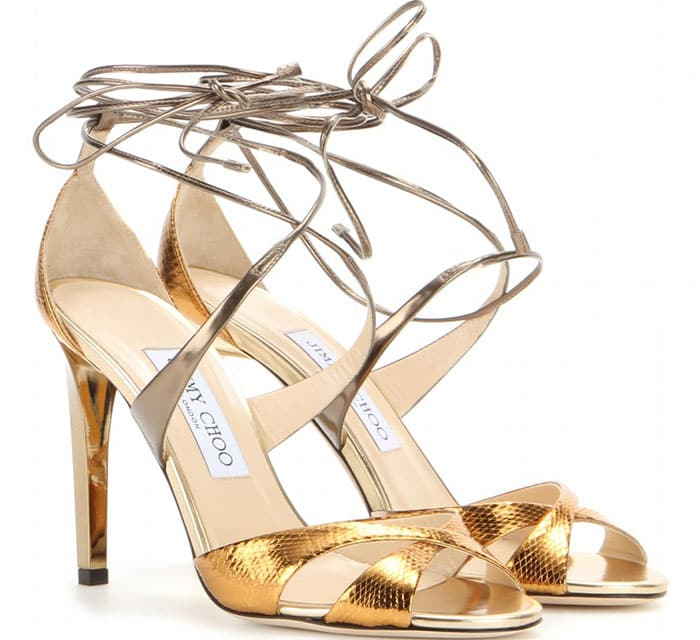 Jimmy Choo Teira Lace-Up Sandals Metallic Snakeskin