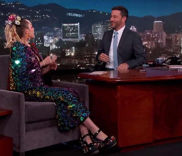 Miley Cyrus makes an appearance on Jimmy Kimmel Live!