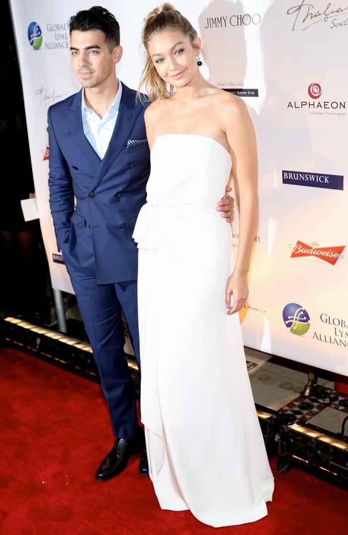 Joe Jonas and his girlfriend Gigi Hadid attend 2015 Global Lyme Alliance Gala