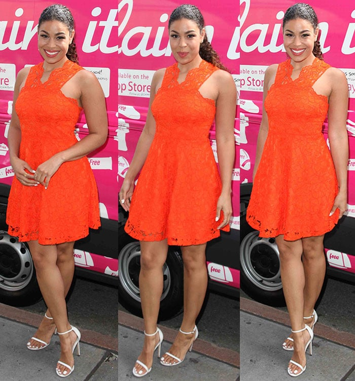 Jordin Sparks added several inches to her height with towering sandals