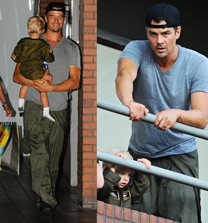 Josh Duhamel and Axl celebrate at Chin Chin restaurant in Brentwood