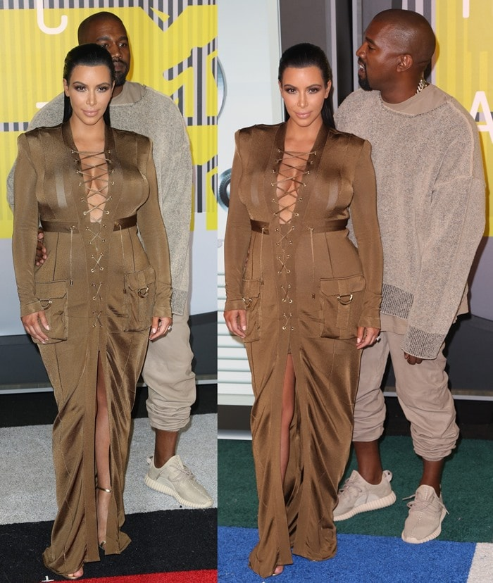 Kim Kardashian completed the ensemble with gold ankle-strap sandals