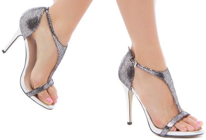 Karyn Metallic T-Strap Faux-Leather Dress Sandal
